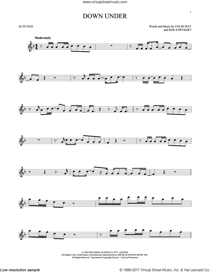 Down Under sheet music for alto saxophone solo by Men At Work, Colin Hay and Ron Strykert, intermediate skill level