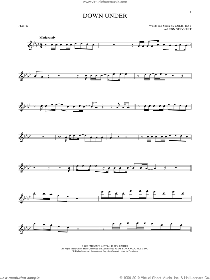 Down Under sheet music for flute solo by Men At Work, Colin Hay and Ron Strykert, intermediate skill level
