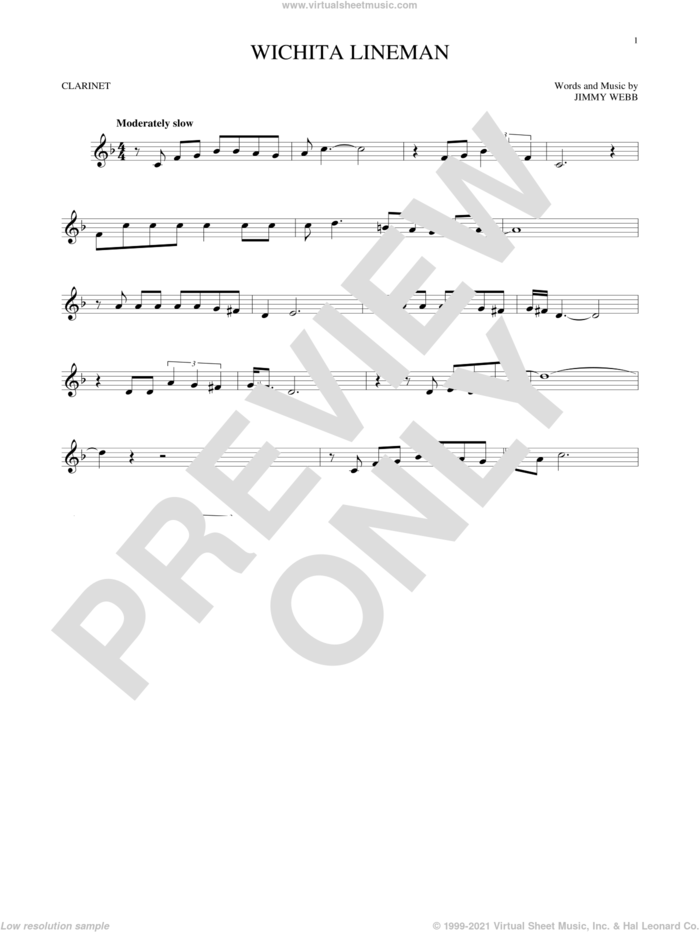 Wichita Lineman sheet music for clarinet solo by Glen Campbell and Jimmy Webb, intermediate skill level