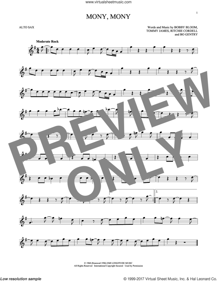 Mony, Mony sheet music for alto saxophone solo by Tommy James & The Shondells, Billy Idol, Bo Gentry, Bobby Bloom, Ritchie Cordell and Tommy James, intermediate skill level
