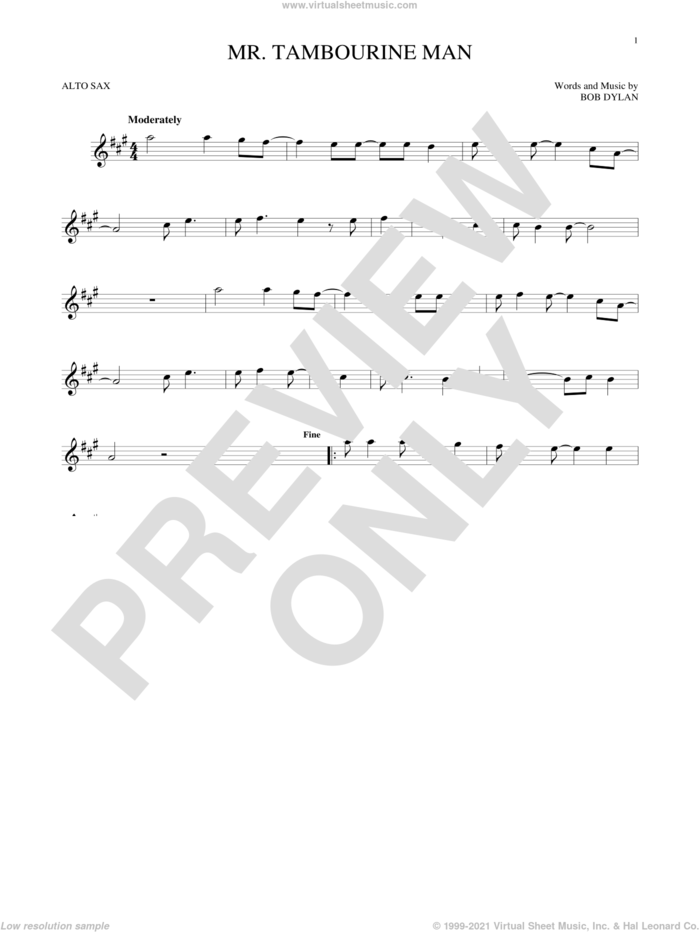 Mr. Tambourine Man sheet music for alto saxophone solo by Bob Dylan, intermediate skill level