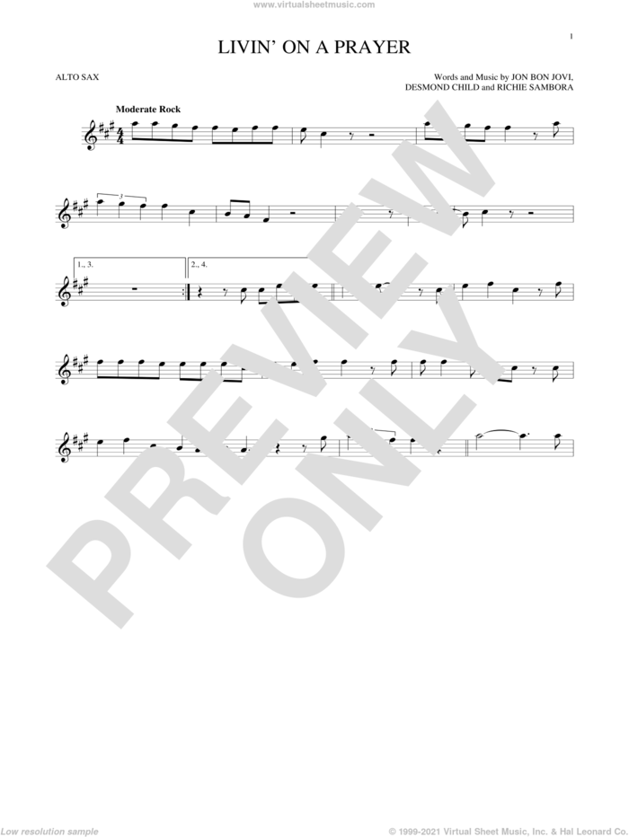 Livin' On A Prayer sheet music for alto saxophone solo by Bon Jovi and Richie Sambora, intermediate skill level