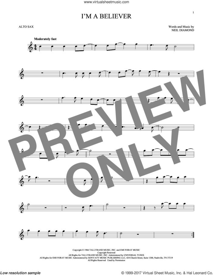 I'm A Believer sheet music for alto saxophone solo by Neil Diamond and The Monkees, intermediate skill level