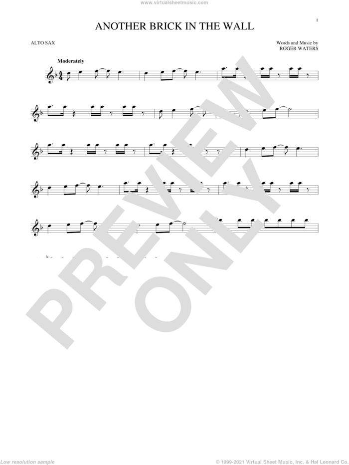 Another Brick In The Wall sheet music for alto saxophone solo by Pink Floyd and Roger Waters, intermediate skill level