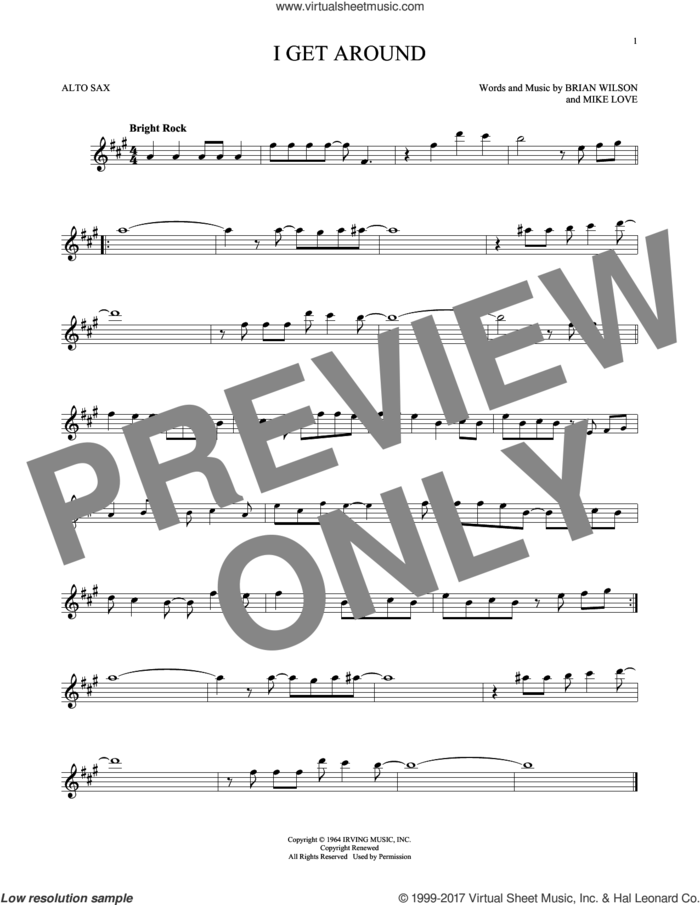 I Get Around sheet music for alto saxophone solo by The Beach Boys, Brian Wilson and Mike Love, intermediate skill level