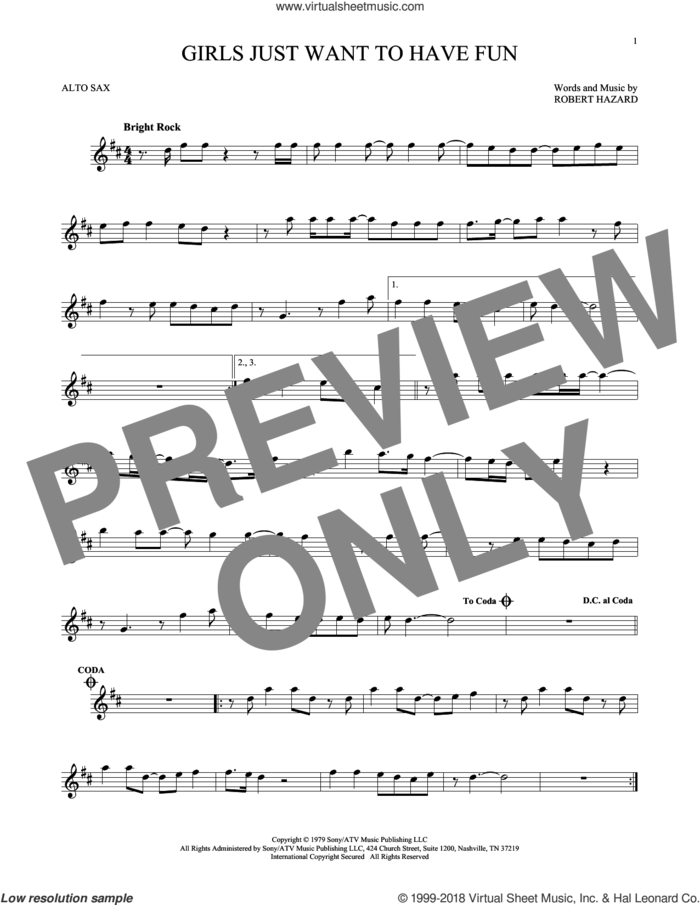 Girls Just Want To Have Fun sheet music for alto saxophone solo by Cyndi Lauper and Robert Hazard, intermediate skill level