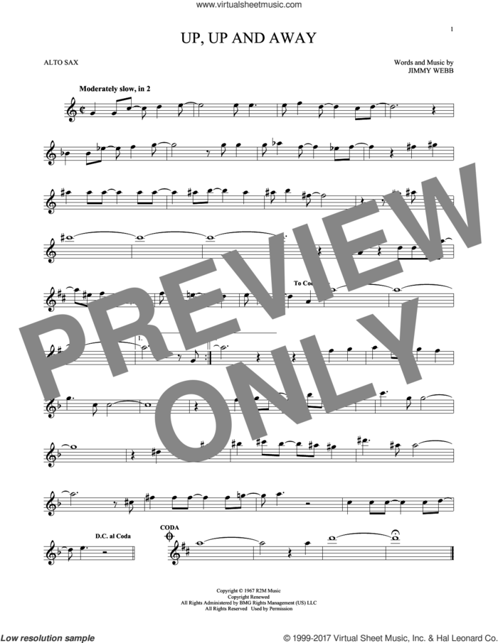 Up, Up And Away sheet music for alto saxophone solo by The Fifth Dimension and Jimmy Webb, intermediate skill level