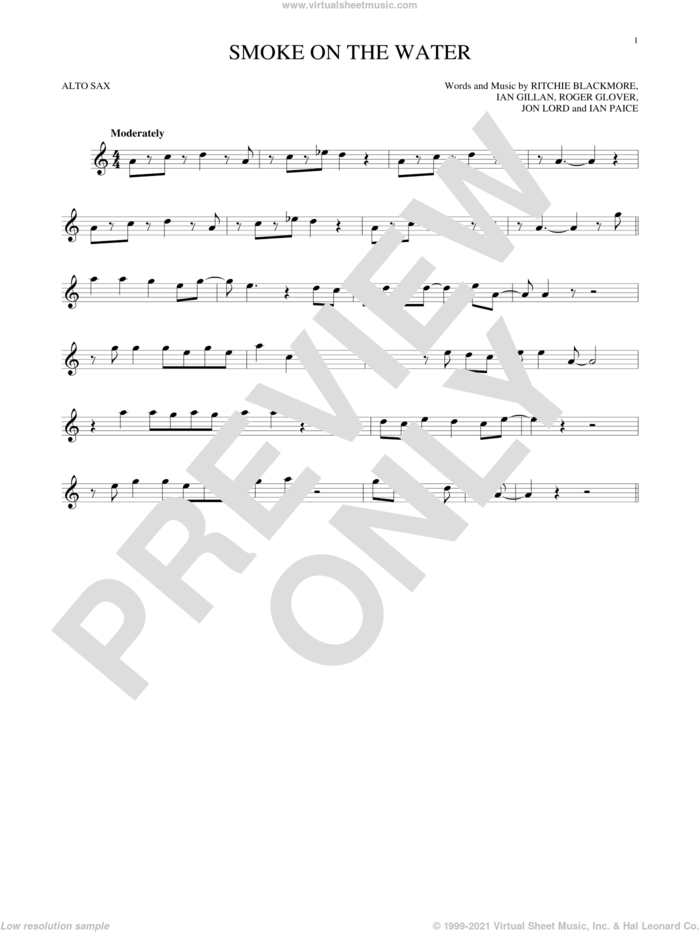 Smoke On The Water sheet music for alto saxophone solo by Deep Purple, Ian Gillan, Ian Paice, Jon Lord, Ritchie Blackmore and Roger Glover, intermediate skill level