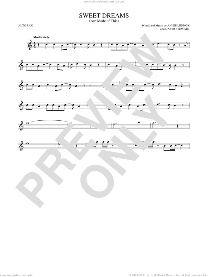 Sweet Dreams (Are Made Of This) sheet music for alto saxophone solo by Eurythmics, Annie Lennox and Dave Stewart, intermediate skill level