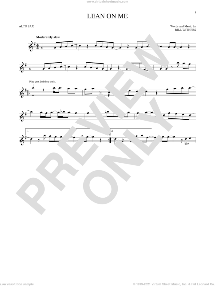 Lean On Me sheet music for alto saxophone solo by Bill Withers, intermediate skill level