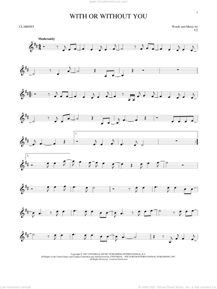 With Or Without You sheet music for clarinet solo by U2, intermediate skill level