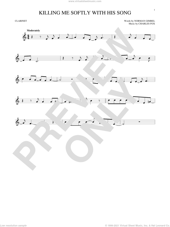Killing Me Softly With His Song sheet music for clarinet solo by Roberta Flack, The Fugees, Charles Fox and Norman Gimbel, intermediate skill level