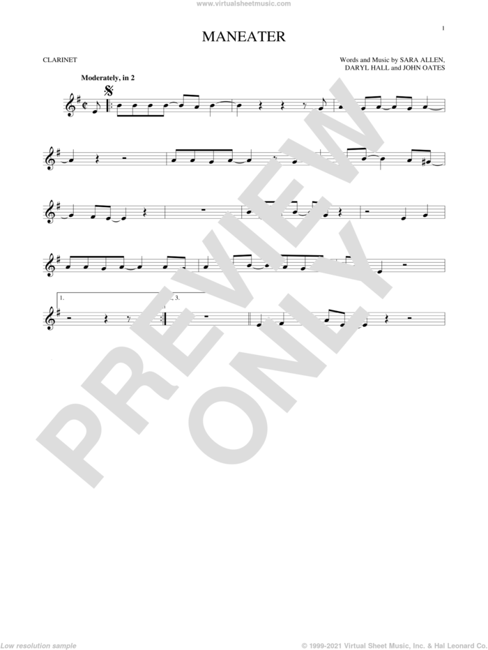 Maneater sheet music for clarinet solo by Hall and Oates, Daryl Hall and John Oates, intermediate skill level