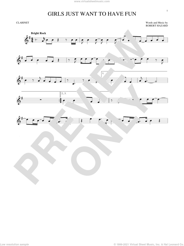 Girls Just Want To Have Fun sheet music for clarinet solo by Cyndi Lauper and Robert Hazard, intermediate skill level