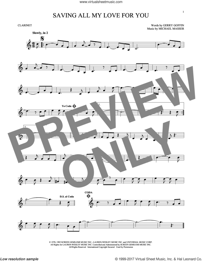 Saving All My Love For You sheet music for clarinet solo by Whitney Houston, Gerry Goffin and Michael Masser, intermediate skill level