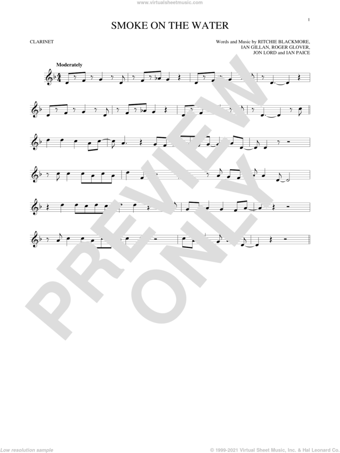 Smoke On The Water sheet music for clarinet solo by Deep Purple, Ian Gillan, Ian Paice, Jon Lord, Ritchie Blackmore and Roger Glover, intermediate skill level