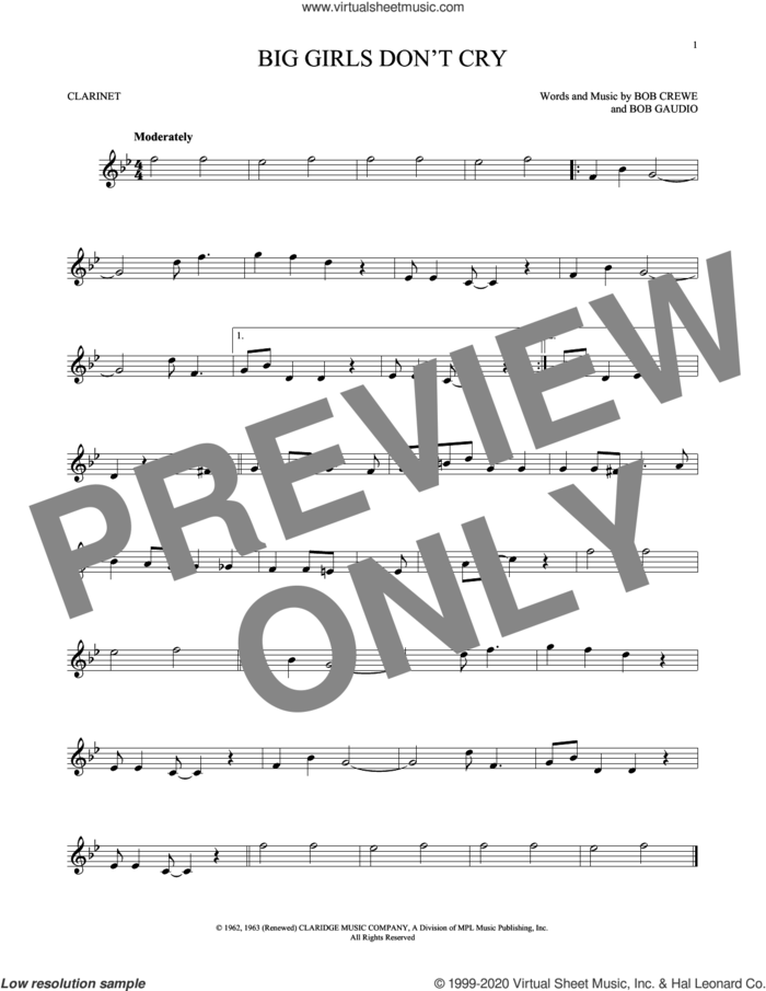 Big Girls Don't Cry sheet music for clarinet solo by The Four Seasons, Bob Crewe and Bob Gaudio, intermediate skill level