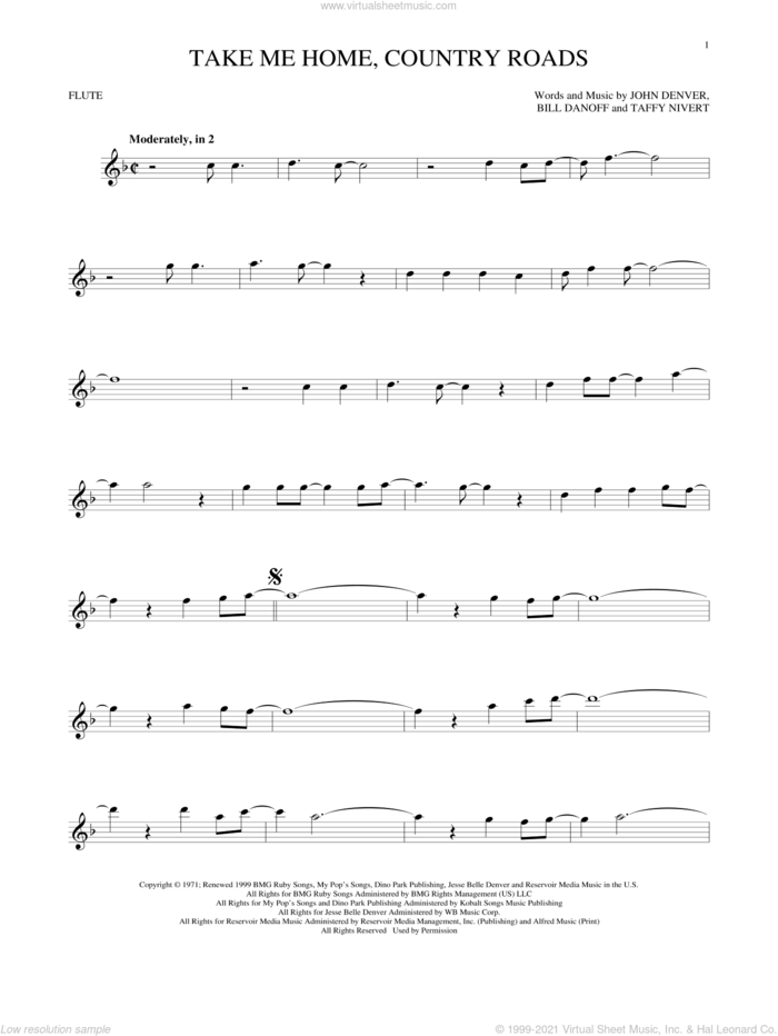 Take Me Home, Country Roads sheet music for flute solo by John Denver, Bill Danoff and Taffy Nivert, intermediate skill level
