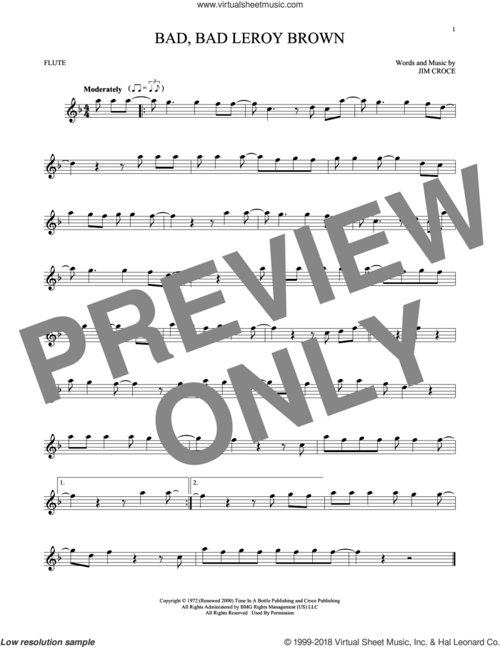Bad, Bad Leroy Brown sheet music for flute solo by Jim Croce, intermediate skill level