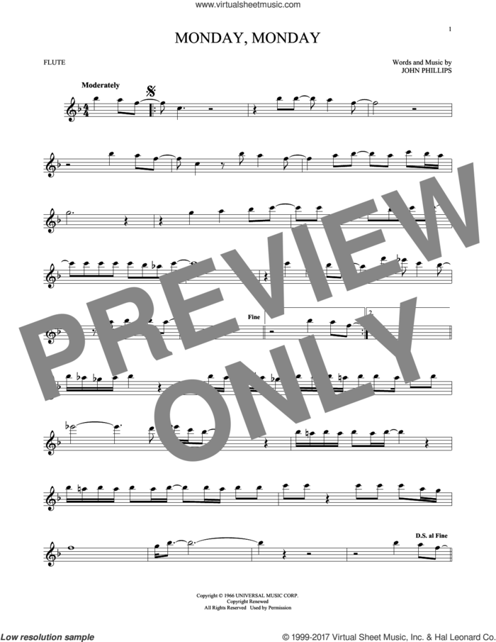 Monday, Monday sheet music for flute solo by The Mamas & The Papas and John Phillips, intermediate skill level