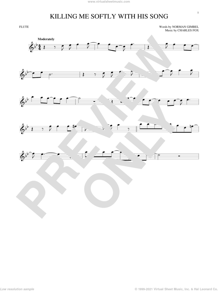 Killing Me Softly With His Song sheet music for flute solo by Roberta Flack, Charles Fox and Norman Gimbel, intermediate skill level