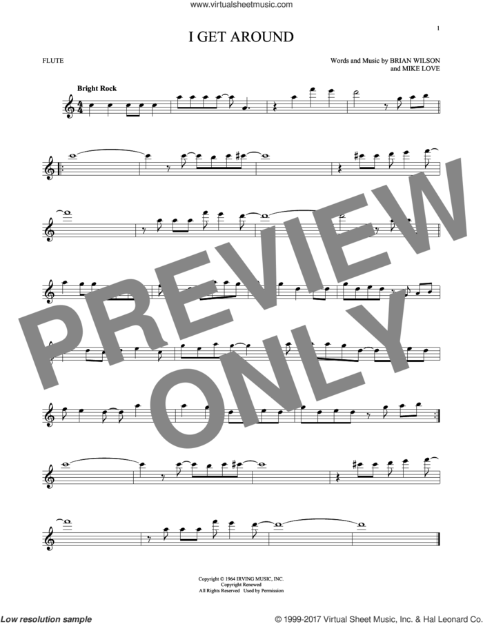 I Get Around sheet music for flute solo by The Beach Boys, Brian Wilson and Mike Love, intermediate skill level