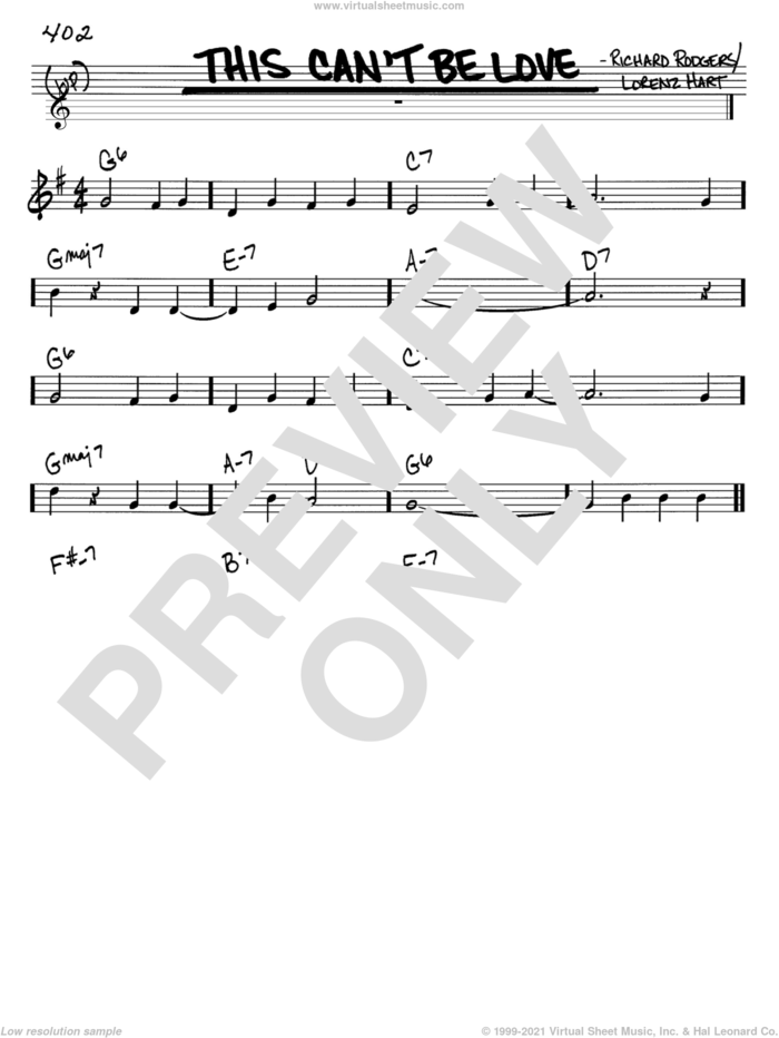 This Can't Be Love sheet music for voice and other instruments (in C) by Rodgers & Hart, Lorenz Hart and Richard Rodgers, intermediate skill level