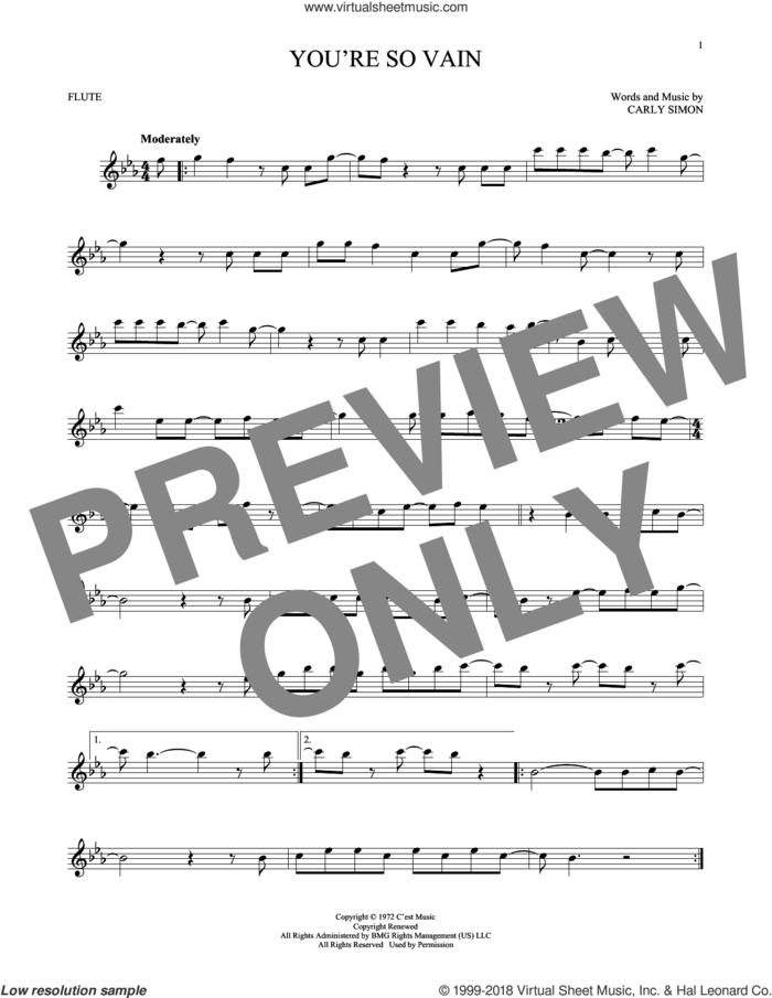 You're So Vain sheet music for flute solo by Carly Simon, intermediate skill level