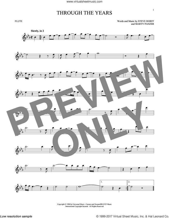 Through The Years sheet music for flute solo by Kenny Rogers, Marty Panzer and Steve Dorff, wedding score, intermediate skill level