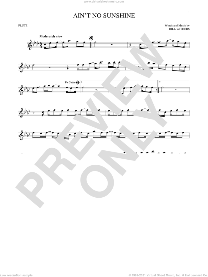 Ain't No Sunshine sheet music for flute solo by Bill Withers, intermediate skill level