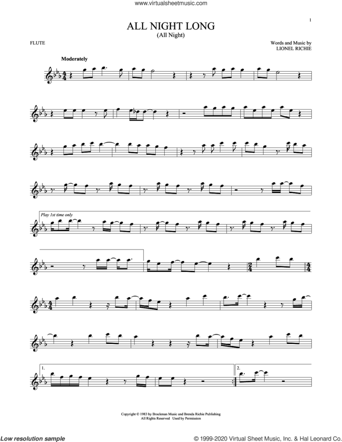 All Night Long (All Night) sheet music for flute solo by Lionel Richie, intermediate skill level