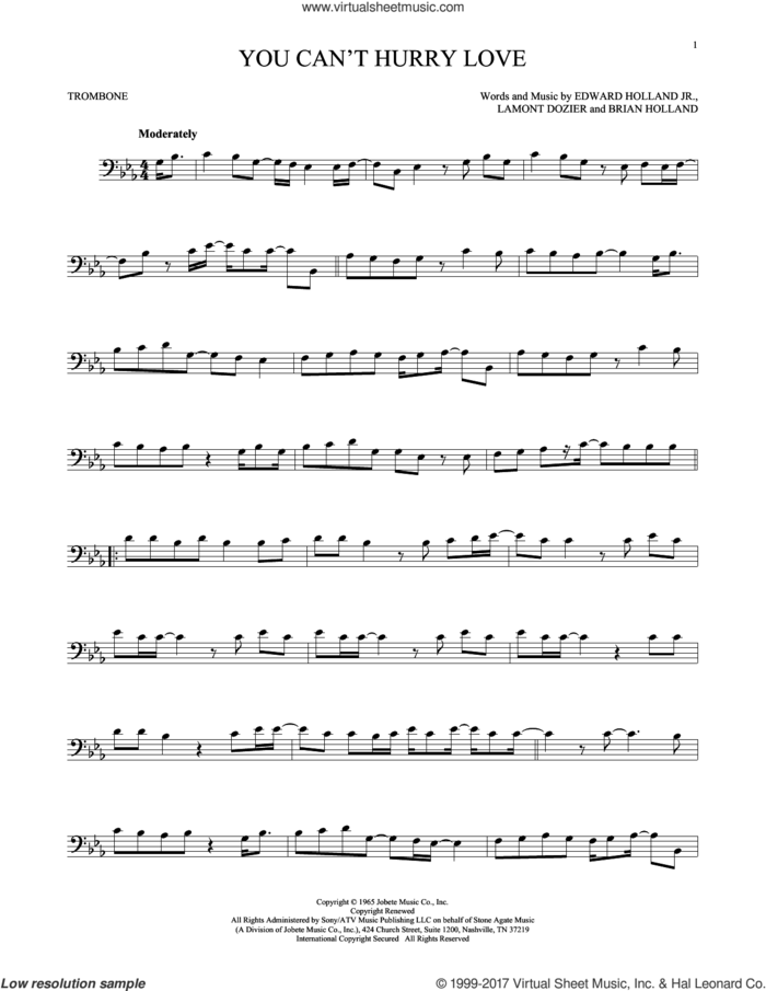 You Can't Hurry Love sheet music for trombone solo by The Supremes, Brian Holland, Edward Holland Jr. and Lamont Dozier, intermediate skill level