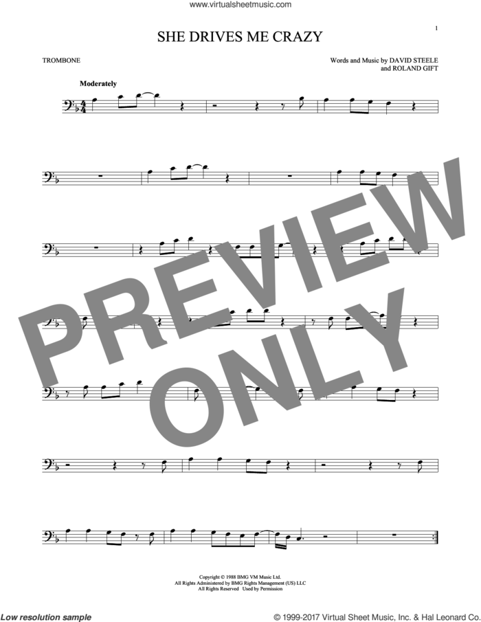 She Drives Me Crazy sheet music for trombone solo by Fine Young Cannibals, David Steele and Roland Gift, intermediate skill level
