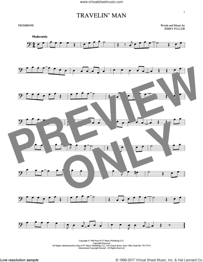 Travelin' Man sheet music for trombone solo by Ricky Nelson and Jerry Fuller, intermediate skill level