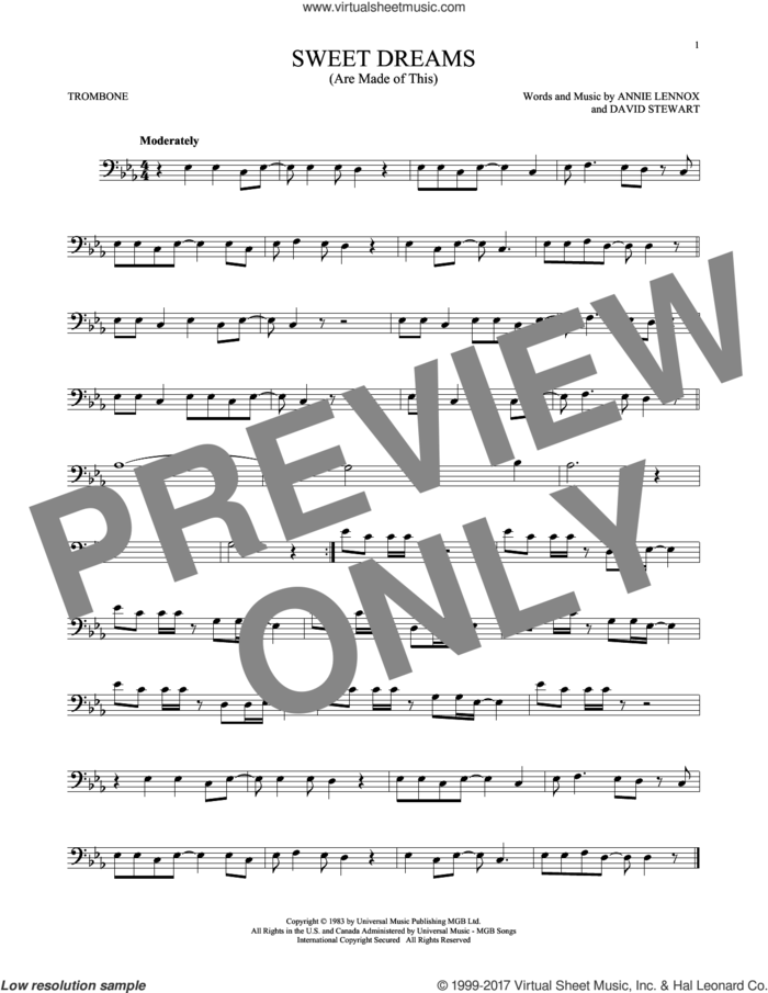 Sweet Dreams (Are Made Of This) sheet music for trombone solo by Eurythmics, Annie Lennox and Dave Stewart, intermediate skill level