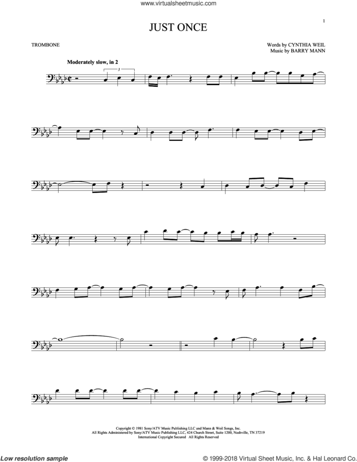 Just Once sheet music for trombone solo by Quincy Jones featuring James Ingram, Barry Mann and Cynthia Weil, intermediate skill level