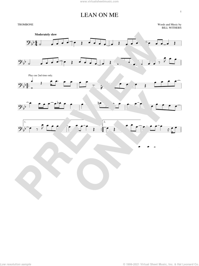 Lean On Me sheet music for trombone solo by Bill Withers, intermediate skill level