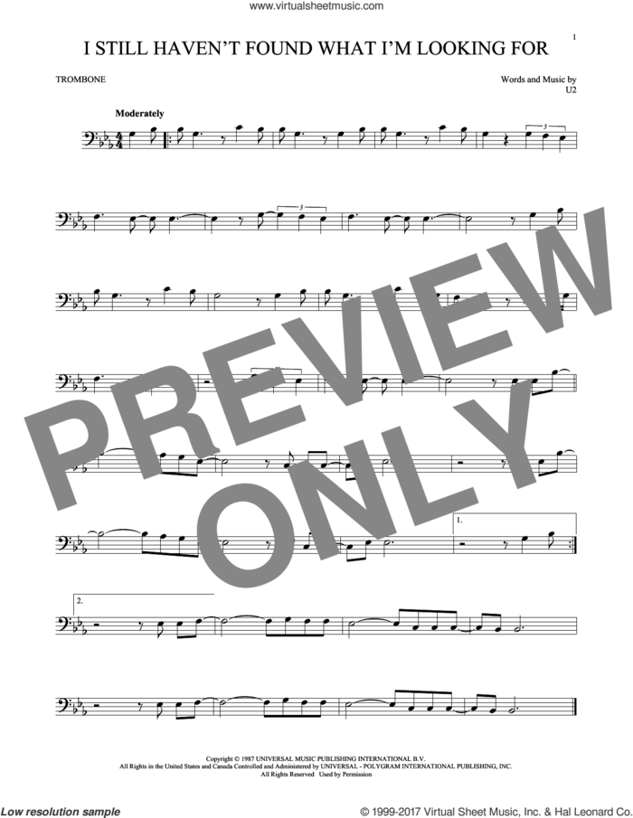 I Still Haven't Found What I'm Looking For sheet music for trombone solo by U2, intermediate skill level