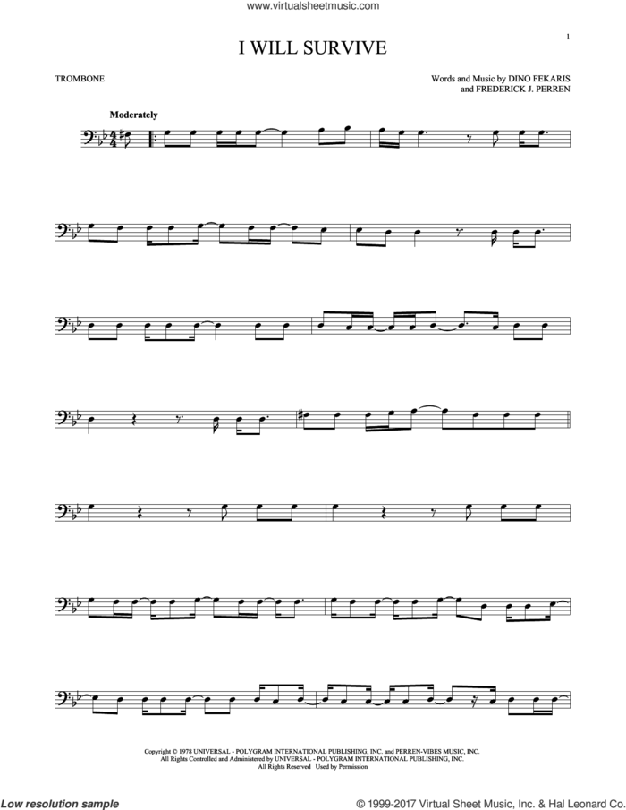I Will Survive sheet music for trombone solo by Gloria Gaynor, Chantay Savage, Dino Fekaris and Frederick Perren, intermediate skill level