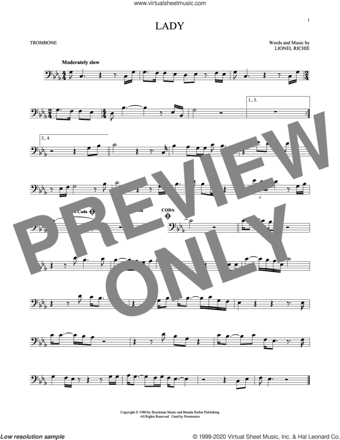 Lady sheet music for trombone solo by Kenny Rogers and Lionel Richie, intermediate skill level