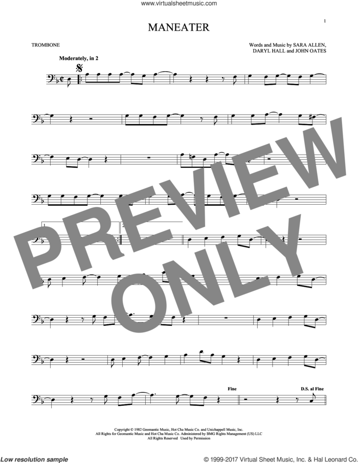 Maneater sheet music for trombone solo by Hall and Oates, Daryl Hall, John Oates and Sara Allen, intermediate skill level
