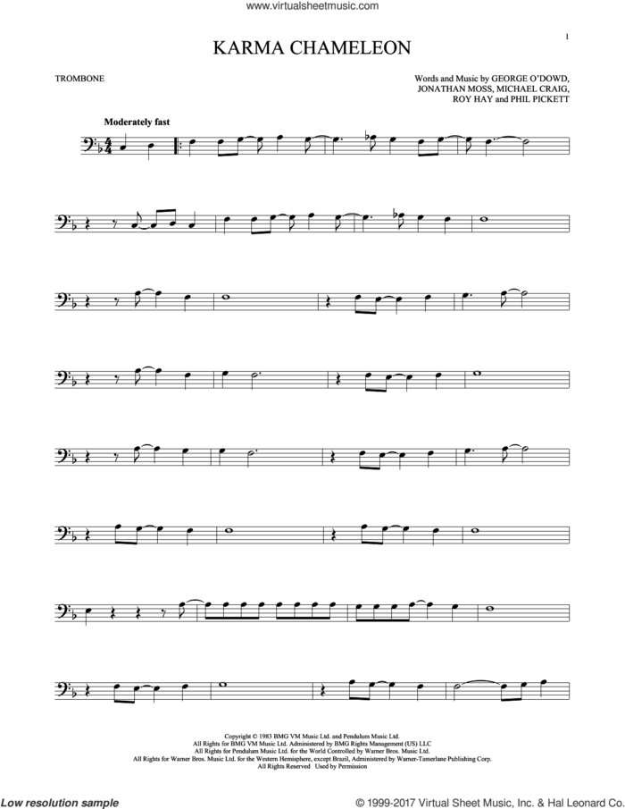 Karma Chameleon sheet music for trombone solo by Culture Club, Jonathan Moss, Michael Craig, Phil Pickett and Roy Hay, intermediate skill level