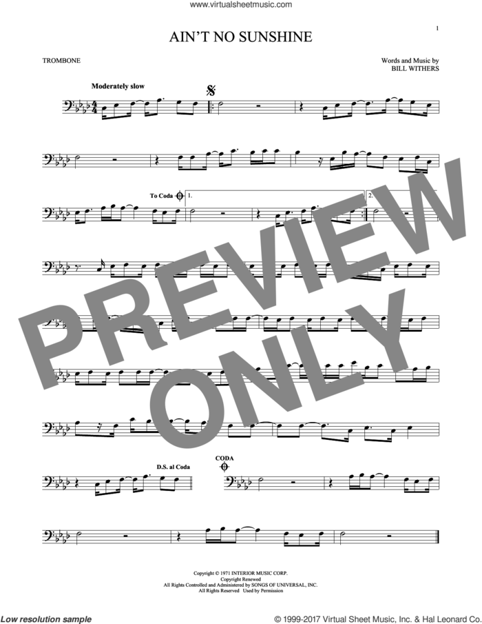 Ain't No Sunshine sheet music for trombone solo by Bill Withers, intermediate skill level