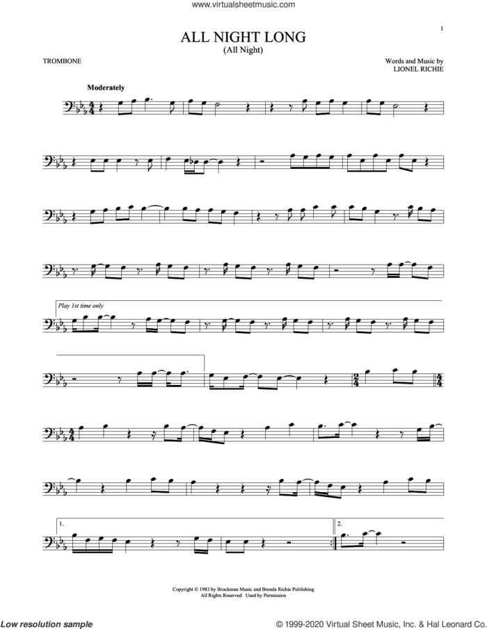 All Night Long (All Night) sheet music for trombone solo by Lionel Richie, intermediate skill level