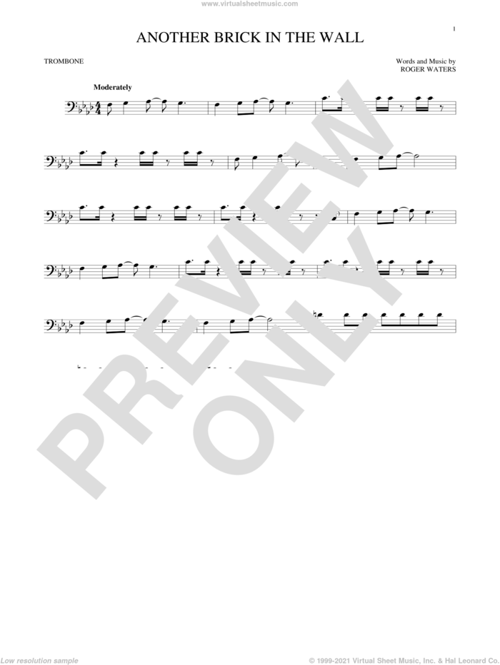 Another Brick In The Wall sheet music for trombone solo by Pink Floyd and Roger Waters, intermediate skill level