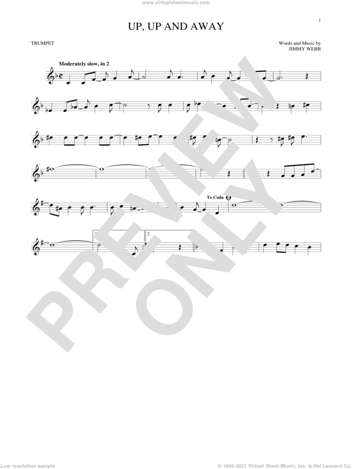 Up, Up And Away sheet music for trumpet solo by The Fifth Dimension and Jimmy Webb, intermediate skill level