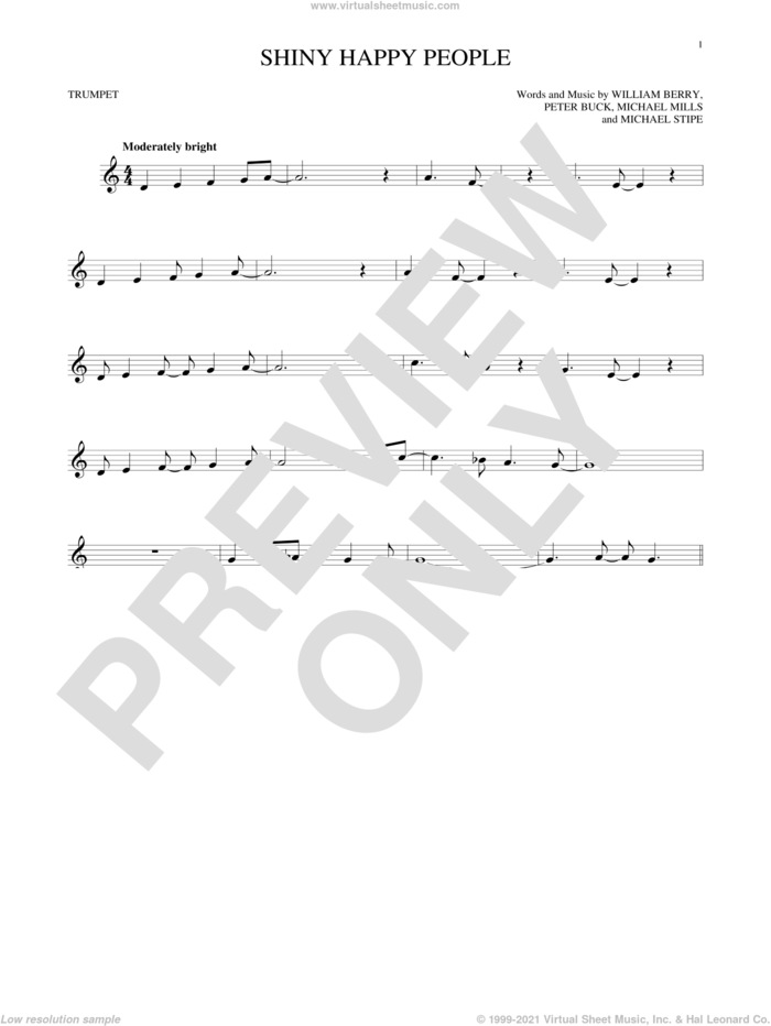 Shiny Happy People sheet music for trumpet solo by R.E.M., Michael Stipe, Mike Mills, Peter Buck and William Berry, intermediate skill level