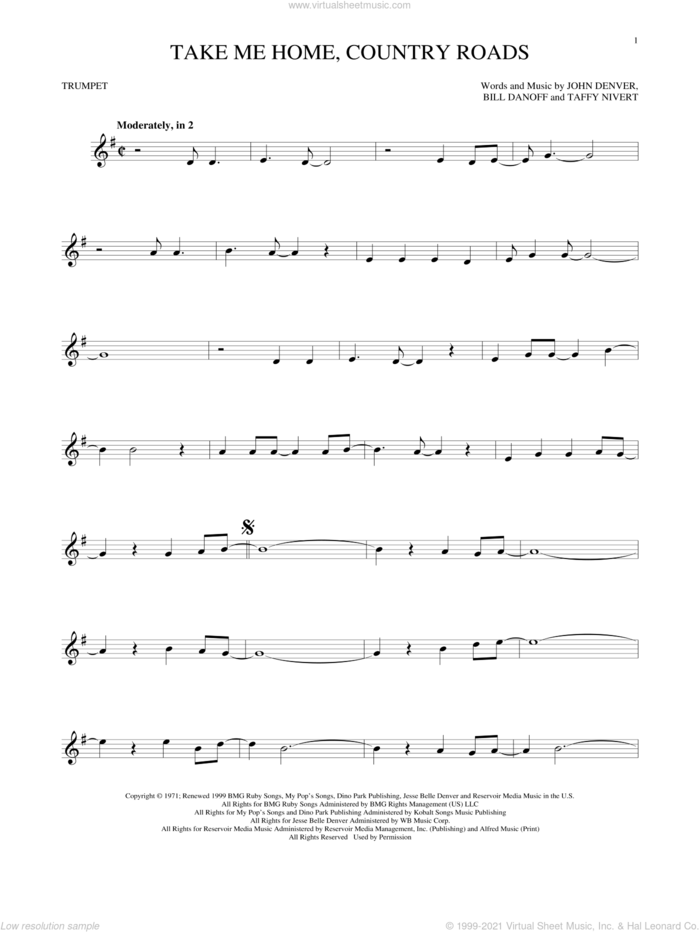 Take Me Home, Country Roads sheet music for trumpet solo by John Denver, Bill Danoff and Taffy Nivert, intermediate skill level