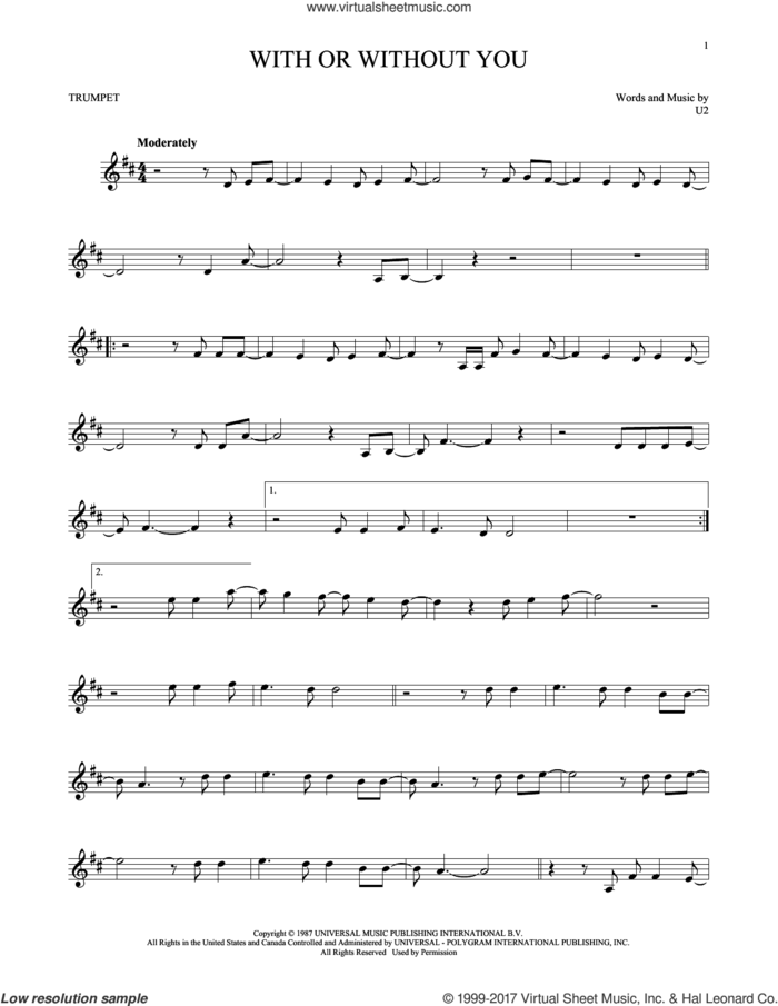 With Or Without You sheet music for trumpet solo by U2, intermediate skill level