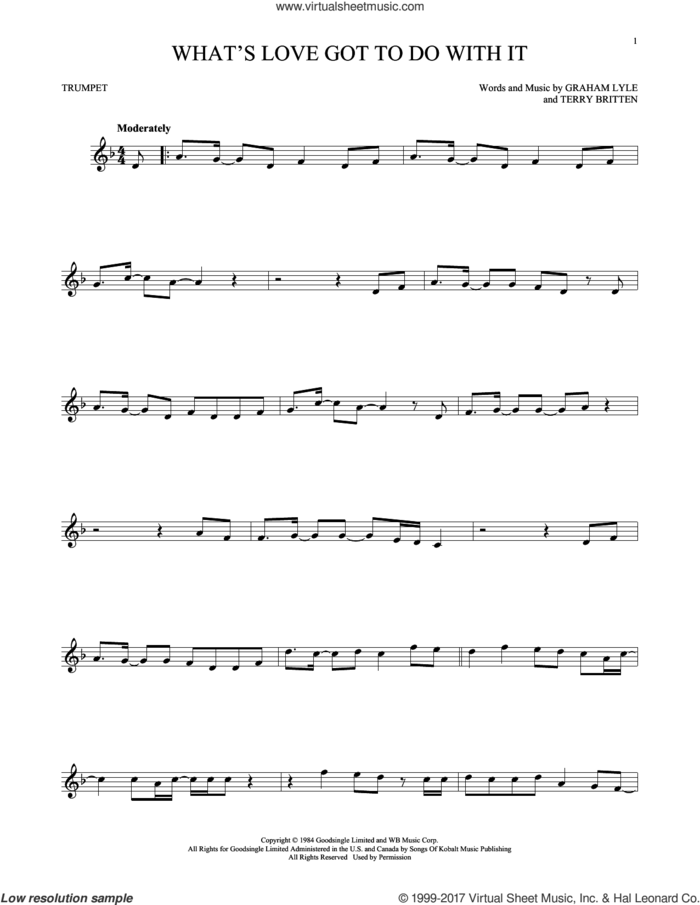 What's Love Got To Do With It sheet music for trumpet solo by Tina Turner, Graham Lyle and Terry Britten, intermediate skill level